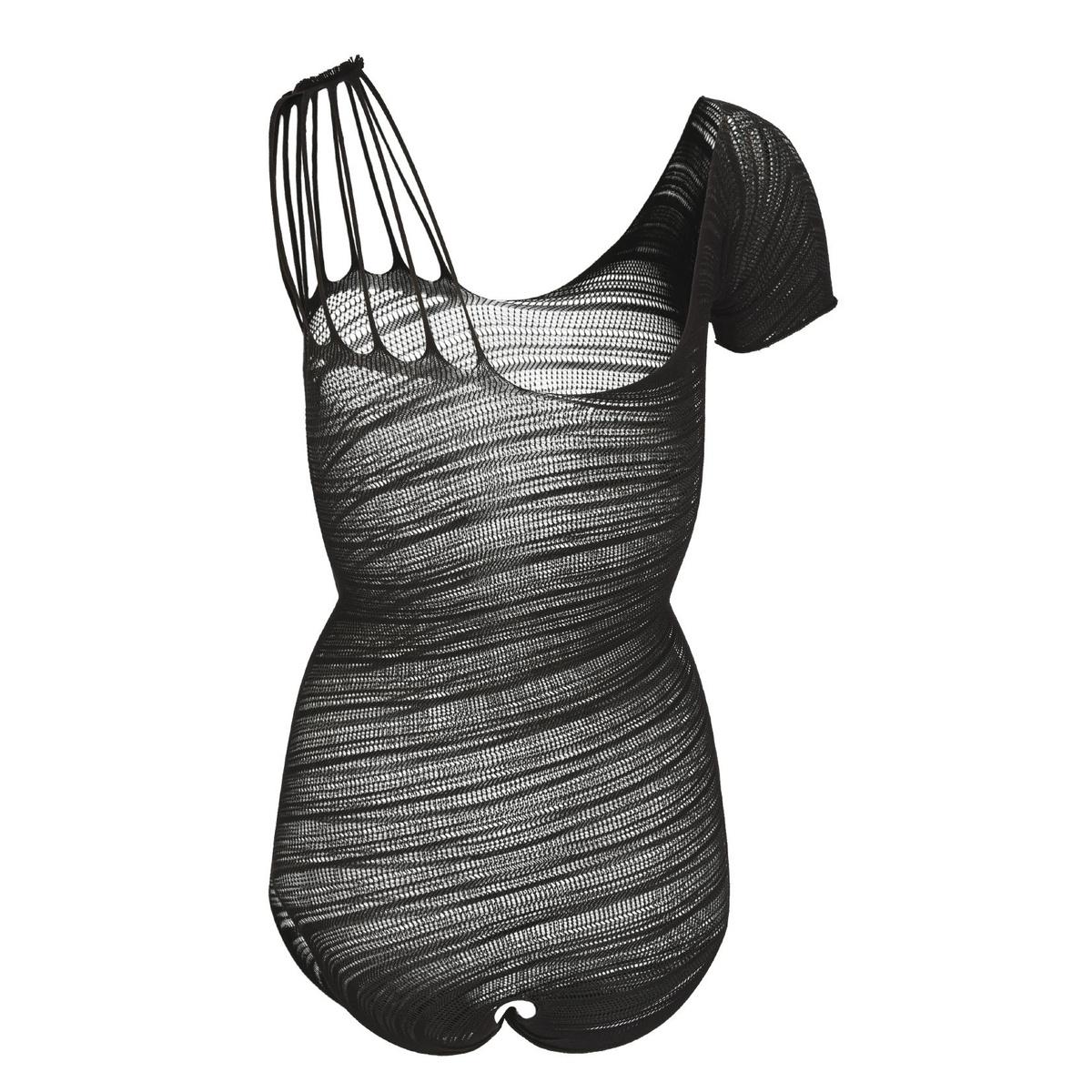 damen body teddy asymmetrisch gestreift schwarz 12 90. Black Bedroom Furniture Sets. Home Design Ideas