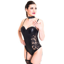 Damen Wetlook Straps-Body Teddy Spitze schwarz
